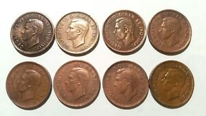 ONE CENT CANADA.GEORGEIVS VI 1940 1951 8 COINS.