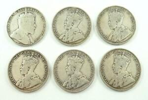 LOT OF 6 CANADA FIFTY / 50 CENTS .925 SILVER COINS C. 1910 1919