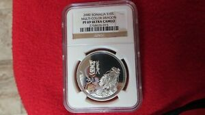 Click now to see the BUY IT NOW Price! 2000 SOMALIA MULTI COLOR DRAGON 1 OZ .999 SILVER POPULATION OF 1 NGC PF69 AFRICA
