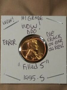 WOW    HI GRADE DDO BRIGHT RED 1955 S FILLED S DIE CRACK REVERSE ON WHEAT EAR.