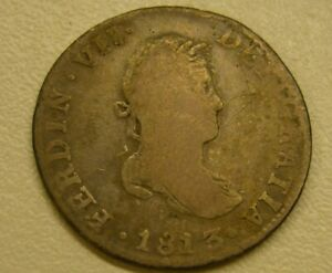1813 MO JJ MEXICO SPANISH COLONY 2 REALES SILVER COIN FERDINAND VII