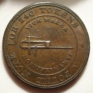 1812 DUDLEY GB J WILKINSON PENNY 1P TOKEN DH 8 W 736 VISE ANVIL OLD PROVENANCE