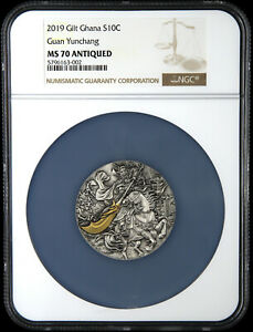 Click now to see the BUY IT NOW Price! NGC MS70 GHANA 2019 CHINESE 3 KINGDOMS HERO GUAN YU GUAN YUNCHANG SILVER COIN