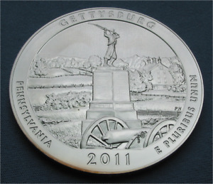 2011 AMERICA THE BEAUTIFUL 5 OZ .999 SILVER GETTYSBURG NATIONAL PARK PA ATB