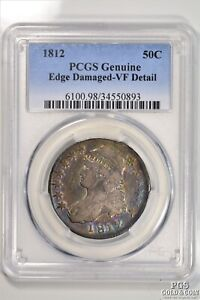 RAINBOW TONED 1812 CAPPED BUST HALF DOLLAR .50C PCGS VF DETAIL US COIN 10458