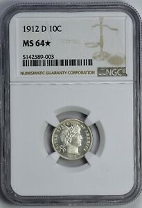 1912 D BARBER DIME NGC MS64 SUPER PQ LOOKS PROOF LIKE STUNNING MIRRORS WOW