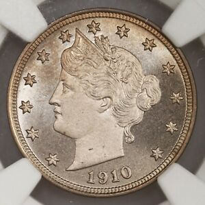 1910 LIBERTY 5C NGC CERTIFIED PF68 PROOF STRUCK V NICKEL COIN