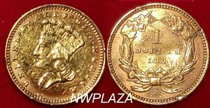 1862 $1 LARGE INDIAN HEAD GOLD DOLLAR IN CAPSULE   DAMAGE
