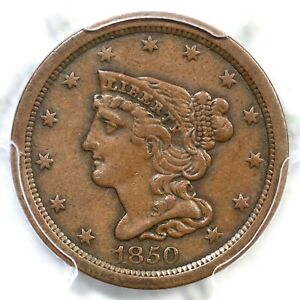 1850 C 1 R 2 PCGS XF 40 BRAIDED HAIR HALF CENT COIN 1/2C
