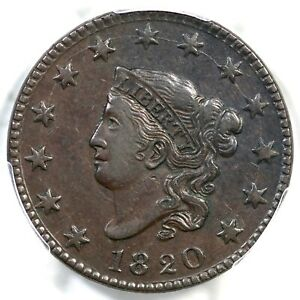 1820 N 13 PCGS XF 40 LG DATE MATRON OR CORONET HEAD LARGE CENT COIN 1C