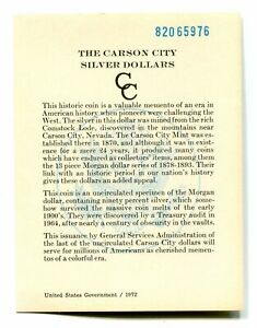 PRISTINE GSA CARD FOR 1882 CC CARSON CITY GSA DOLLAR NO. 82065976 COA 99C SHIP