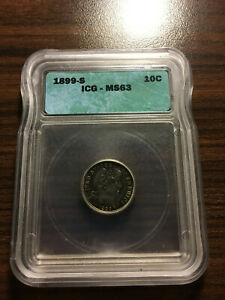 Click now to see the BUY IT NOW Price! 1899 S BARBER SILVER DIME 10C ICG MS 63  LOW MINTAGE