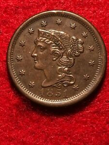 1851 BRAIDED HAIR LARGE CENT AU DETAILS BEAUTIFUL COIN