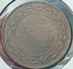 1916 COPPER CANADIAN LARGE CENT COIN 1 CENT CANADA