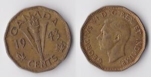1943 CANADA 5 CENTS COIN