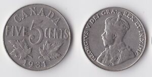 1931 CANADA 5 CENTS COIN