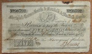 5 1868 NORWICH CROWN BANK & NORFOLK & SUFFOLK BANK FOR HARVEYS AND HUDSONS