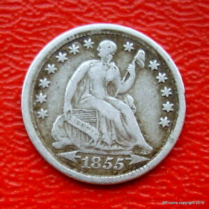UNITED STATES 1855 SILVER HALF DIME GOOD COLLECTABLE GRADE