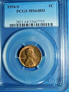 1954 S 1C RD LINCOLN WHEAT CENT PCGS MS64RD  236 2