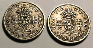 LOT OF 2   GREAT BRITAIN  UK  1951 FLORIN  TWO SHILLINGS COINS   KING GEORGE VI