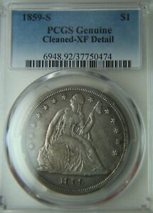 1859 S LIBERTY SEATED SILVER DOLLAR   $1   PCGS XF DETAILS CLEANED