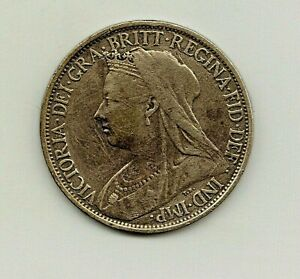 1897 VICTORIAN FARTHING.  'HIGH TIDE' VARIANT.