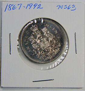 1867   1992  CANADA   50 CENT UNCIRCULATED   STUNNING COIN GRADED MS63