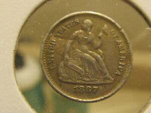 AU 1867 S SEATED HALF DIME   A GREAT TYPE COIN   GAEG