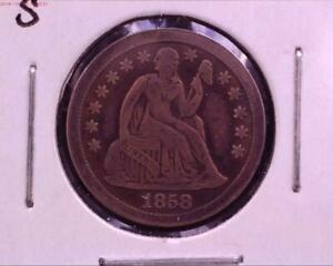 1858 S SEATED LIBERTY DIME F VF