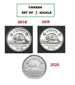 LOT OF 2 NICKEL   2018 AND 2019 CANADA FIVE CENTS CIRCULATED NICKEL 5 C