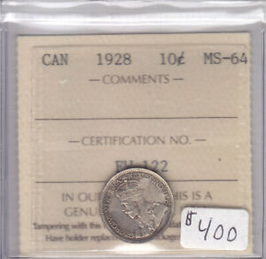 Click now to see the BUY IT NOW Price! 1928 CANADIAN 10 CENT COIN ICCS CERT MS 64