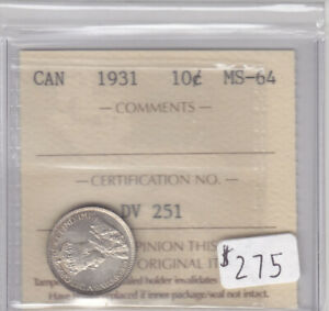 Click now to see the BUY IT NOW Price! 1931 CANADIAN 10 CENT COIN ICCS CERT MS 64