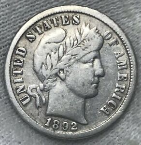 1892 O BARBER DIME VF    NICE FIRST YEAR COIN   FULL LIBERTY