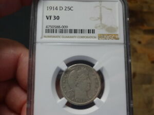 1914 D NGC CERTIFIED VF 30 BARBER QUARTER   GREAT COIN