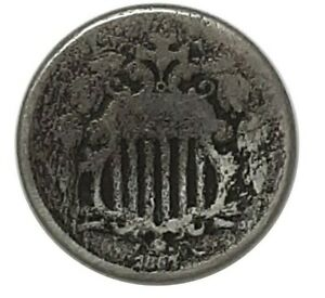 1867 UNITED STATES SHIELD NICKEL WITHOUT RAYS
