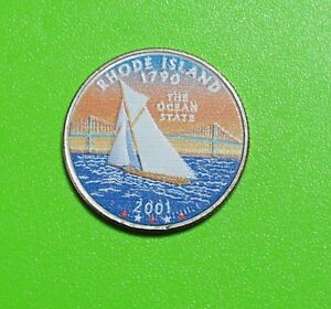 2001 D 25C RHODE ISLAND 50 STATES QUARTER   COLORIZED   UNCIRCULATED