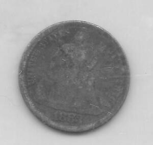 US SEATED LIBERTY DIME 10 CENT PIECE MINTED IN 1883  1