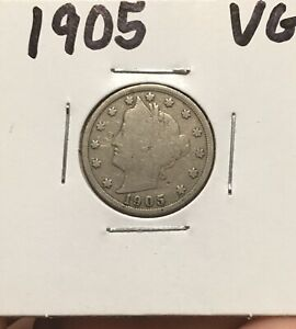 1905 LIBERTY HEAD 'V' NICKEL 5 CENTS GOOD OLD COIN