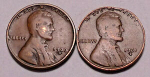 1931 D AND 1933 D LINCOLN WHEAT CENT PENNY  LOT OF 2