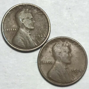 1922 D & 1924 D LINCOLN WHEAT CENT PENNY LOT   GREAT STARTERS