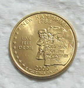 2000 P 25C NEW HAMPSHIRE STATE QUARTER   GOLD LAYERED   UNCIRCULATED