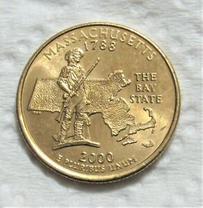 2000 P 25C MASSACHUSETTS STATE QUARTER   GOLD LAYERED   UNCIRCULATED