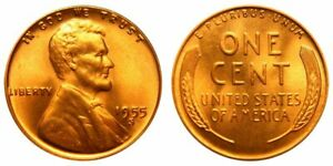 1955 S BU UNCIRCULATED LINCOLN CENT   $2.75 MAXIMUM SHIPPING FOR ENTIRE ORDER