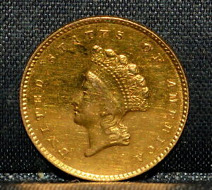 1855 O $1 GOLD DOLLAR  AU ALMOST UNC DETAILS  TYPE 2 T2  NOW TRUSTED