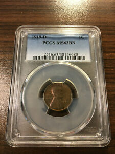 1919 D LINCOLN WHEAT PENNY CENT 1C PCGS MS 63 BROWN  BN  TYPE 1 WHEAT REVERSE