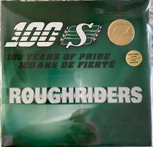 SASKATCHEWAN ROUGHRIDER 100TH ANNIVERSARY GOLD PLATED LOONIE 2010 $1 COIN