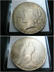 1924 P PEACE SILVER DOLLAR CHOICE AU COIN  NICE ORIGINAL TONED