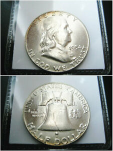 1954   BETTER DATE   SIILVER BEN FRANLIN HALF DOLLAR CHOICE UNC GEM BU COIN