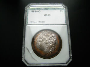 WOW 1884 O MORGAN SILVER DOLLAR CHOICE UNC BU COIN    SUPER COLORFUL TONING