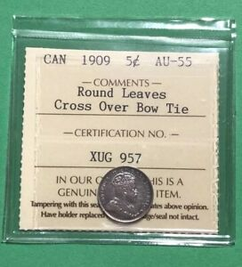 Click now to see the BUY IT NOW Price! CANADA 1909 5 CENTS ROUND LEAVES CROSS OVER BOW TIE ICCS AU55